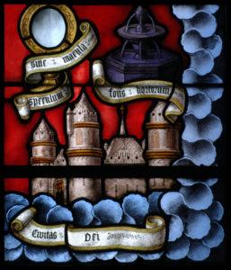 Vendôme. Eglise de la Trinité. Verrière des Litanies de la Vierge. Détail : château fort. XVIe siècle. Vitrail.