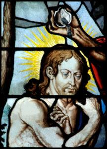 Paris. Eglise St-Gervais-St-Protais. Baptême du Christ. Détail. 1625. Vitrail.