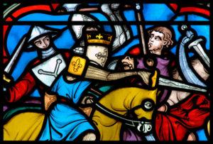 France. Dijon. Eglise Notre-Dame. Didron, Edouard-Amédée. Verrière de Saint Louis.- Détail : Saint Louis chargeant à la bataille de Taillebourg, le 21 juillet 1242. Le Roi. 1874-1897. Vitrail.
