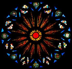 Renaissance. St-Nicolas-de-Port. Eglise St-Nicolas. Rose (ouest). Vue d'ensemble. 1524-1539. Vitrail.