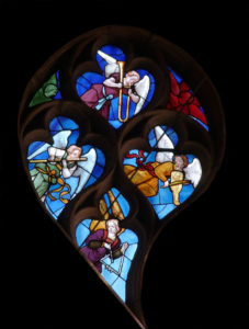 Renaissance. Sens. Cathédrale St-Etienne. Rose nord. Détail : . 1517-1519. Vitrail.