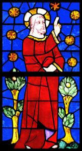 Renaissance. Bayonne. Cathédrale Ste-Marie. Détail : Dieu créant les étoiles et les arbres. XVIe siècle. Vitrail.
