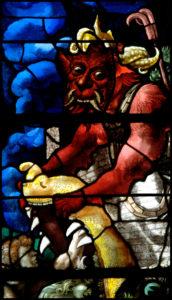 Beauvais. Eglise St-Etienne. Verrière du Jugement dernier. Détail : le diable. 1er quart XVIe siècle. Vitrail.