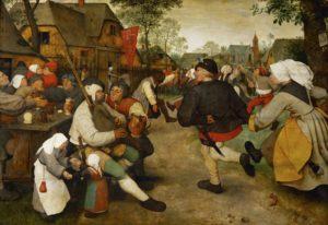 Pieter Brueghel l'Ancien. La danse des paysans. 1568. Peinture. Vienne. Kunsthistorisches Museum.