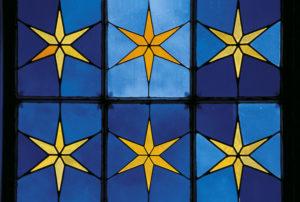 Allemagne. Potsdam. Charlottenhof. Vestibule. Vitrail aux étoiles. 1826