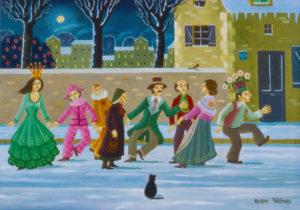 Alain Thomas. La farandole dans la neige. 1978. Peinture. Collection particulière.