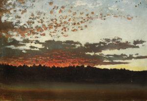 Holm, Per Daniel. Coucher de soleil sur un paysage de forêt (Suède). 1880. Peinture. Collection particulière.