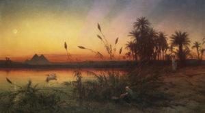 Dillon, Frank. Vue de l'île Roda vers les pyramides de Gizeh au soleil couchant. XIXe siècle. Peinture. Collection particulière.