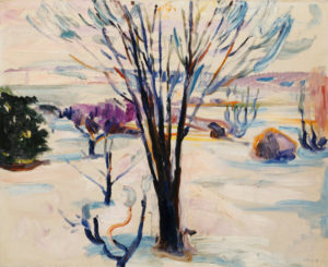 Munch, Edvard. Paysage d'hiver à Jeløya. 1912. Peinture. Collection particulière.
