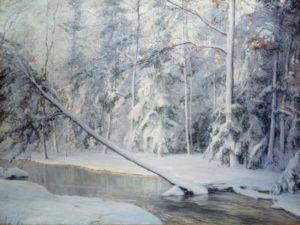 Palmer, Walter Launt. Paysage d'hiver avec un arbre couché. Fin XIXe-début XXe siècle. Peinture. Collection particulière.