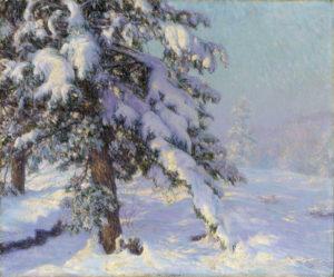 Palmer, Walter Launt. Paysage de neige. Fin XIXe-début XXe siècle. Peinture. Collection particulière.