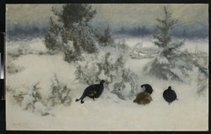 Liljefors, Bruno Andreas. Coqs de bruyère dans la neige. 1919. Peinture. Münster. Westfälisches Landesmuseum.