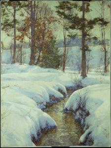 Palmer, Walter Launt. Ruisseau dans la neige. Fin XIXe-Début XXe siècle. Peinture. Collection particulière.