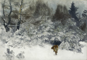 Liljefors, Bruno Andreas. Renard dans un paysage d'hiver. 1930. Peinture. Collection particulière.