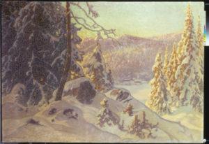 Schultzberg, Anselm. Un matin d'hiver. 1923. Peinture. Collection particulière.