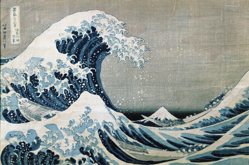 Hokusai, Katsushika. La Grande vague de Kanagawa. Vers 1831. Estampe. Collection particulière.