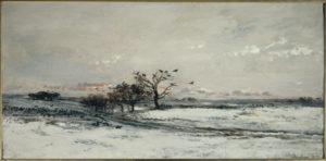 Daubigny, Charles-Francois. Paysage de neige au soleil couchant. 1873. Peinture. Paris, Musée d'Orsay.
