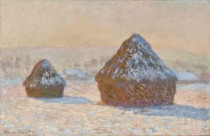 Monet, Claude. Effet de Neige, Le Matin. 1891. Peinture.  Los Angeles, J.P. Getty Museum.